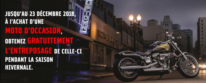 À l'achat d'une moto d'occasion obtenez l'entreposage gratuitement